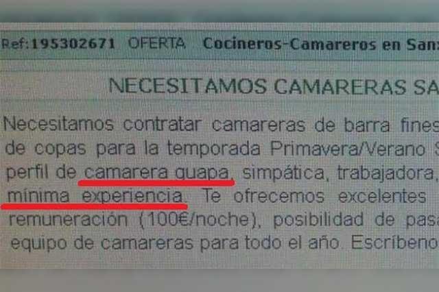 Ofrecen en España 100 euros por día a mujeres guapas y con buenos pechos