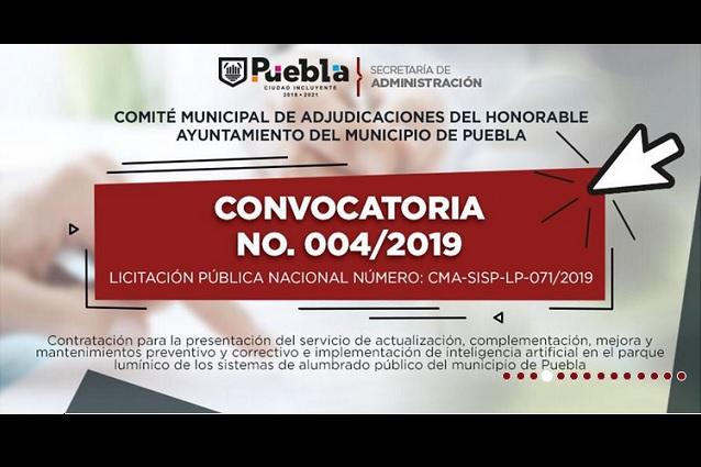 Aprueban regidores transparentar licitación del alumbrado en Puebla