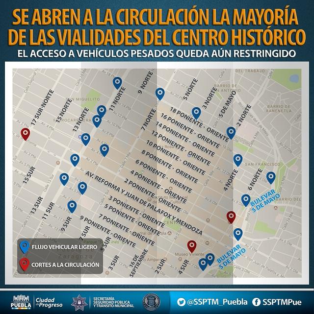 Abren a la circulación mayoría de vialidades del centro histórico