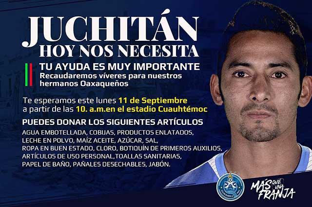 ¡Se ponen la del Puebla! El Cuauhtémoc es centro de acopio en apoyo a Juchitán