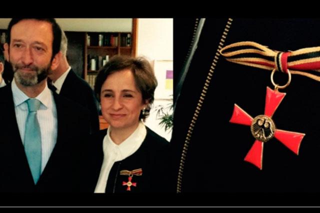 Alemania otorga La Cruz de la Orden del Mérito a Carmen Aristegui