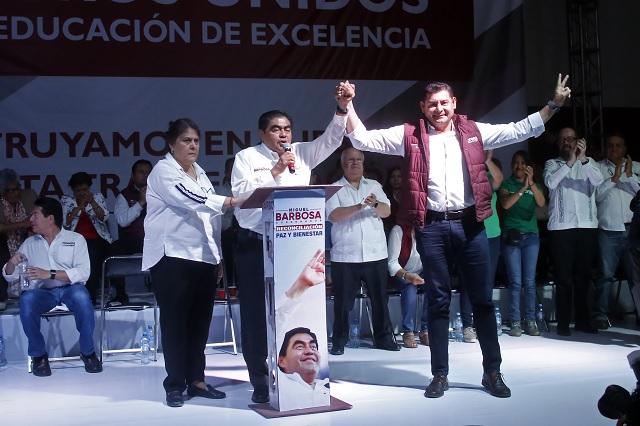 A 3 semanas de la elección aparece Armenta en campaña de Barbosa