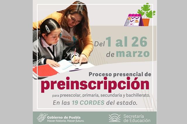 Concluyeron preinscripciones en línea, informa la SEP Puebla