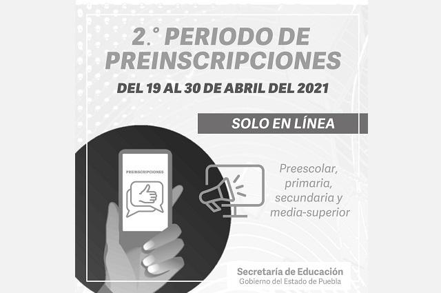 En SEP Puebla, segundo período de preinscripciones en línea