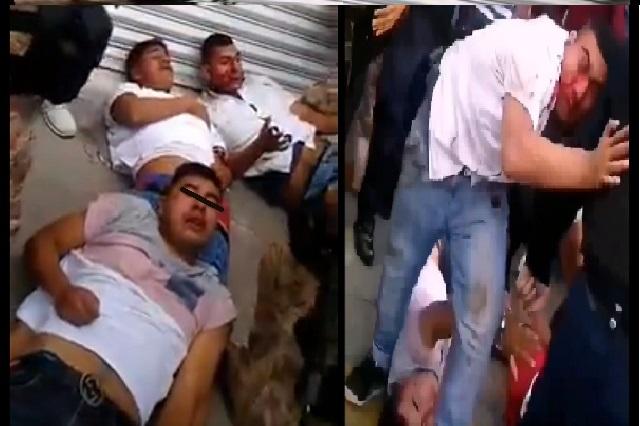Video: Propinan brutal golpiza a asaltantes en EdoMex