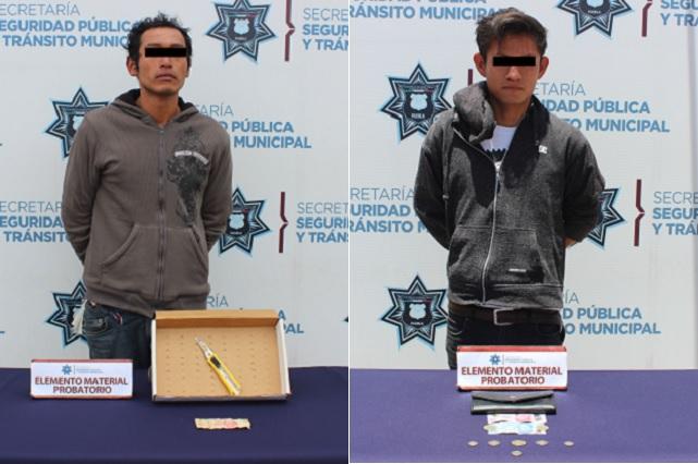 Detienen en Puebla capital a dos asaltantes de transeúnte