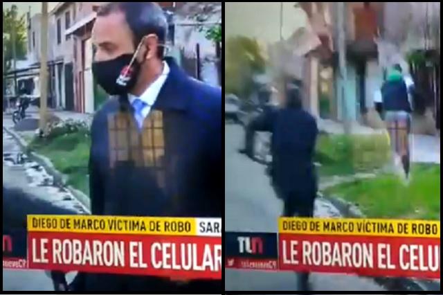 Periodista argentino es víctima de asalto en plena transmisión: Video