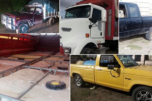 Aseguran diez vehículos y más de 4 mil litros de huachicol