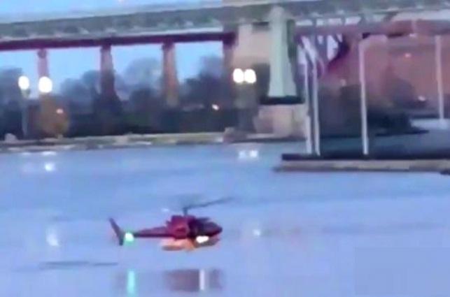 Publican video del momento en que cayó un helicóptero en el río Este, NY