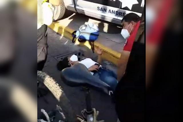 Patrulla de San Andrés Cholula atropella a joven ciclista