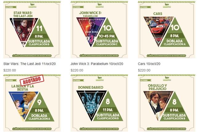 Esta es la cartelera del Autocinema Cocodrilo del 7 al 11 de octubre