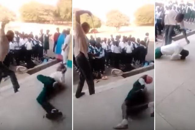 Fuertes imágenes en Video: hombre da latigazos a estudiantes en público
