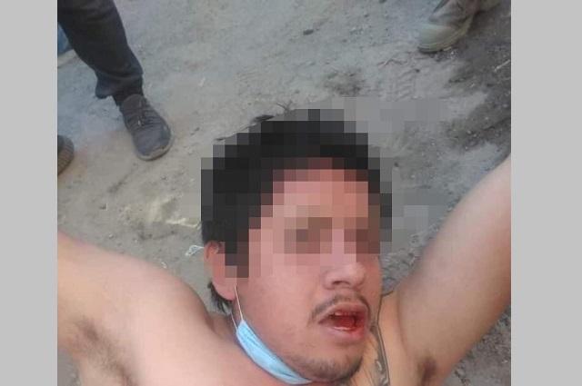 Vecinos aporrean a dos ladrones en Texmelucan y en Puebla