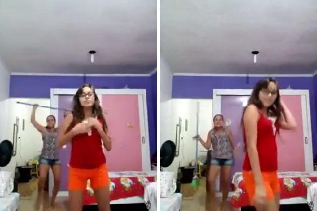 Video de madre bailando con escoba atrás de su hija atrapa a millones