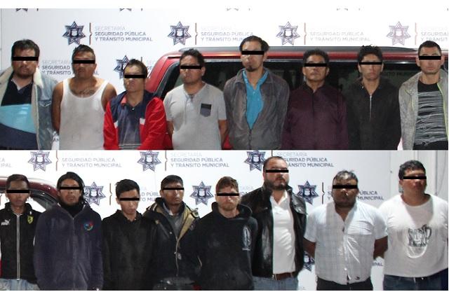 Cae banda de 16 hombres que robaban mercancía de un tráiler