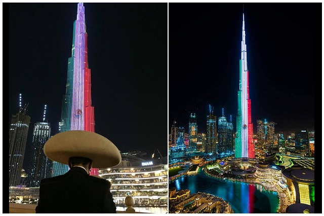 Emiratos Árabes también festeja a México con bandera monumental