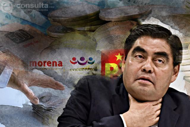 Dan a campaña de Barbosa 70% del dinero de Morena, PT y PES