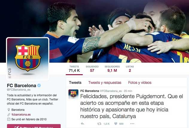 Barcelona y el polémico mensaje a Puigdemont que prendió Twitter