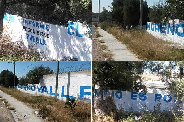Aparecen bardas en Tlaxcala promoviendo sexto informe de RMV