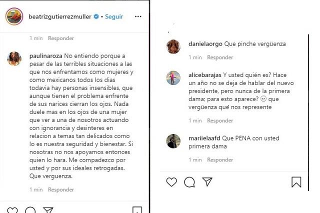 En Instagram arremeten contra Beatriz Gutiérrez por no apoyar a mujeres