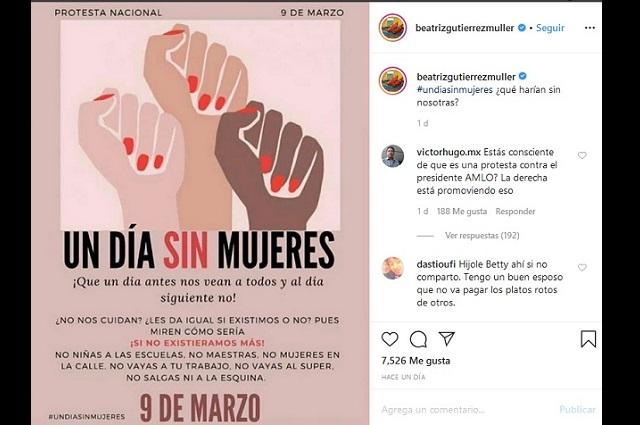 Beatriz Gutiérrez quita su apoyo a mujeres y luego guarda silencio