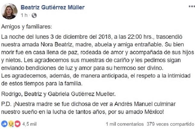 Fallece Nora Beatriz Müller Bentjerodt, suegra de AMLO