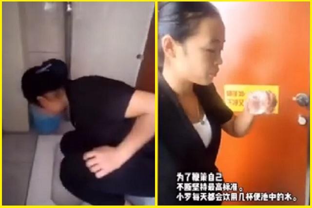 Trabajadora de limpieza bebe del inodoro para mostrar su eficacia