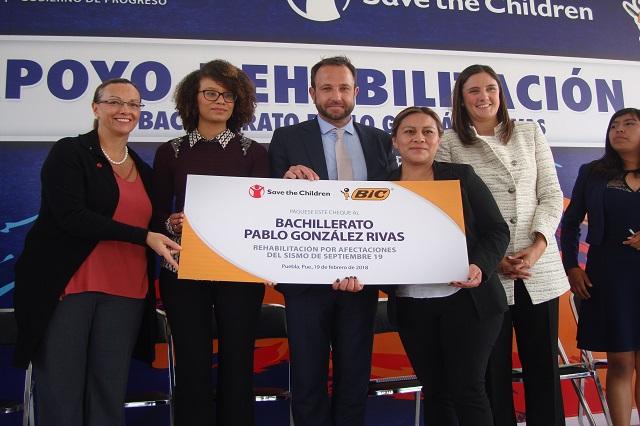 Reconstruyen bachillerato en Puebla con donativo de BIC México