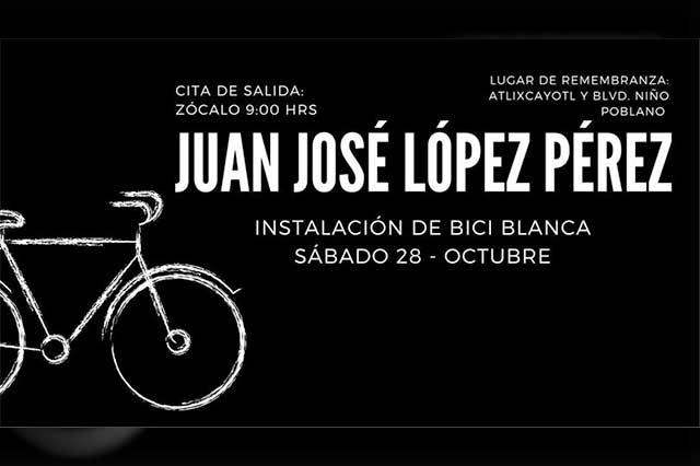 """Instalarán """"bici blanca"""" en memoria de ciclista muerto en Vía Atlixcáyotl"""