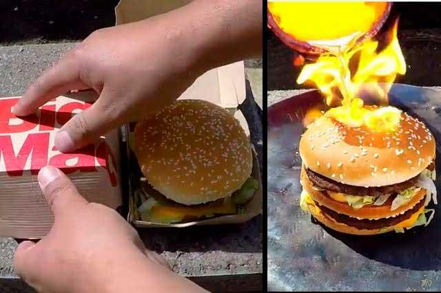 ¿Qué ocurre cuando le pones cobre fundido a una Big Mac?