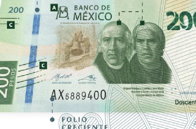 Mira los elementos de seguridad del nuevo billete de 200 pesos