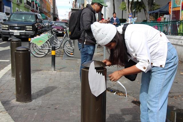 Visten bolardos y exigen dar prioridad a peatones en Puebla