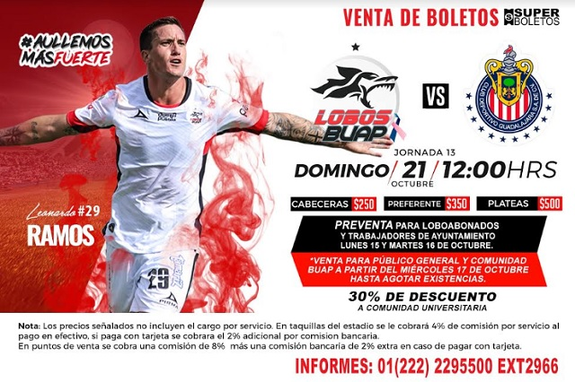 Boletos para el Lobos BUAP-Chivas, desde el lunes