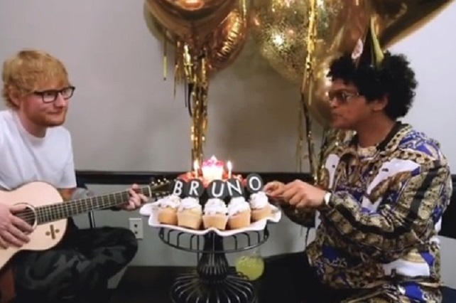 Bruno Mars celebra cumpleaños con gran regalo de Ed Sheeran