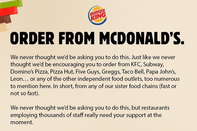 Burger King se hace viral por invitar a comprar en McDonald´s