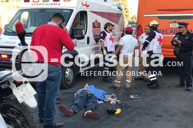 Checador Ruta Huejotzingo muere atropellado por camión
