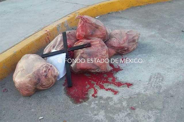 Lanzan cabezas de cerdo ensangrentadas en sede de Morena en Tlalnepantla