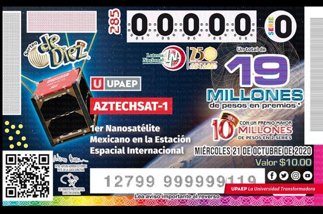 Boletos de la Lotería Nacional con imagen del AztechSat-1