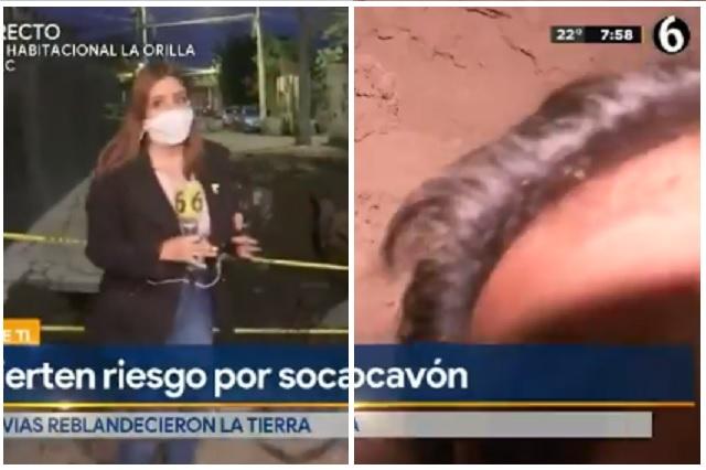 Reportero se distrae y cae en enorme socavón de CDMX