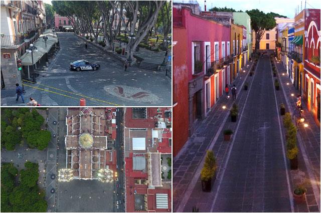 Cierran tránsito vehicular en Centro de Puebla por Covid-19