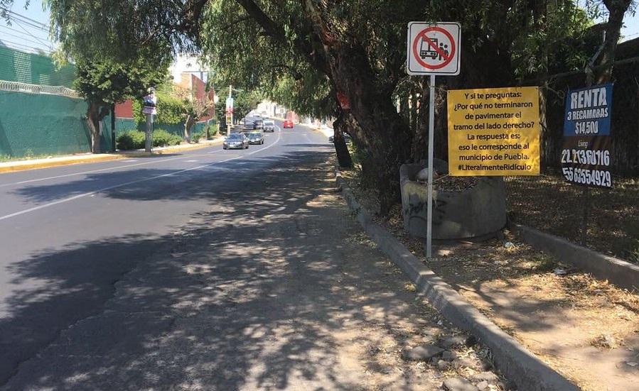Arregla Puebla su parte en Camino Real a Cholula