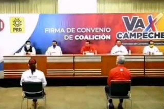 Firman coalición en Campeche dirigentes de PAN, PRI y PRD