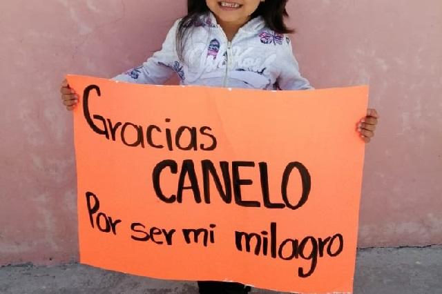 """Desde Puebla, así le dicen """"gracias"""" niños con cáncer al Canelo Álvarez"""