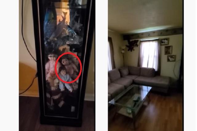 Sujeto logra captar a muñecas moviéndose solas en vitrina de su casa