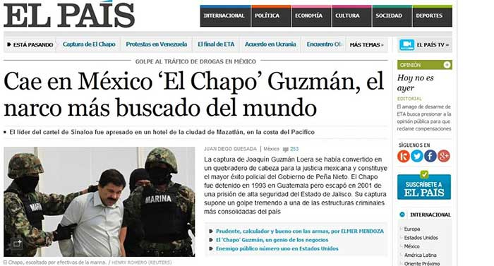 Destaca la prensa internacional captura de el chapo guzm n for Ultimas noticias de espectaculos internacionales