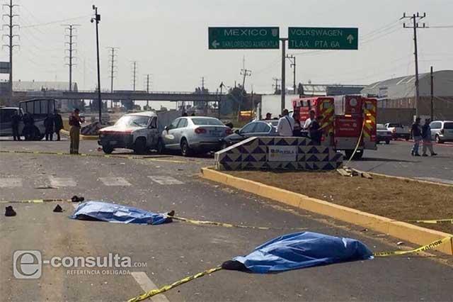 Carambola en Cuautlancingo deja dos muertos y un herido grave