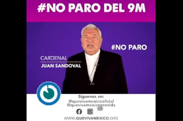 Cardenal mexicano pide no apoyar el 9M; 'es peor el aborto que el maltrato a la mujer', asegura