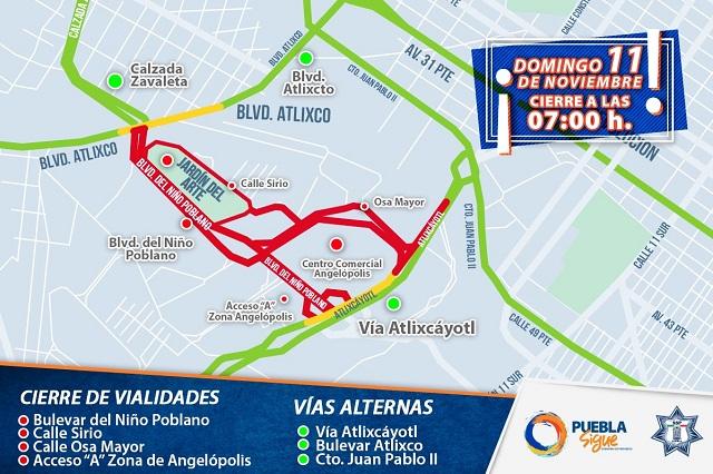 Habrá cierre viales por carrera este domingo en Angelópolis