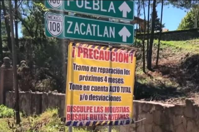 Piden agilizar rehabilitación de carretera interserrana en Zacatlán