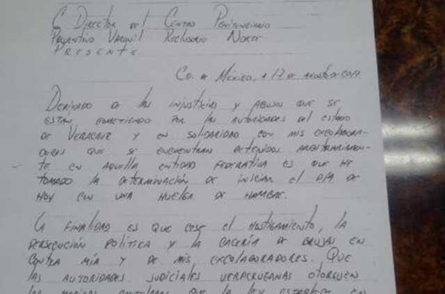 Duarte envía carta y acusa a Yunes de haber montado un circo en su contra